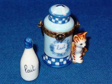 CAT WITH MILK JUG AND BOTTLE