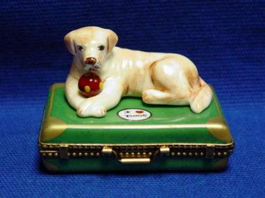 YELLOW LAB ON SUITCASE