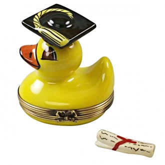 YELLOW DUCK WITH GRADUATION CAP WITH REMOVABLE DIPLOMA