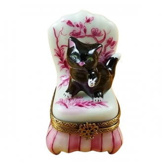 Black cat on toile chair
