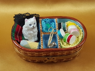 Sewing Basket with Cat