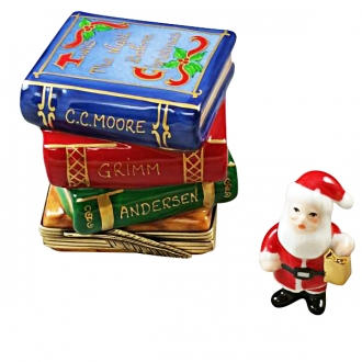 TWAS NIGHT BEFORE CHRISTMAS STACK OF BOOKS WITH REMOVABLE SANTA