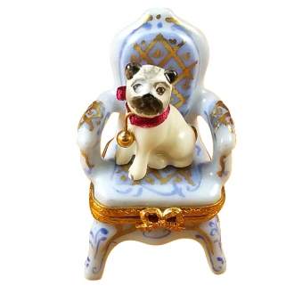 Pug on armchair