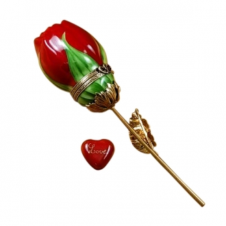 Red Rose with Gold Stem