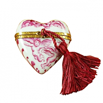 Heart pink angel w/tassel..