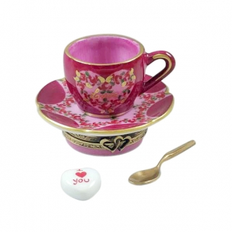 Valentines LOVE Tea Cup w/ Spoon and Heart Sugar Cube