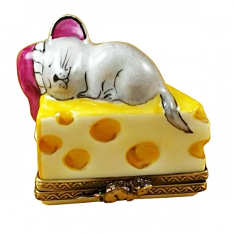 Mouse sleeping on chesse
