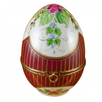 LARGE BURGUNDY EGG W/ FLOWERS