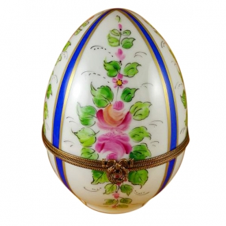 LARGE BURGUNDY STRIPED EGG W/FLOWERS