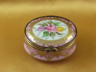 PINK & GOLD OVAL WITH FLOWER