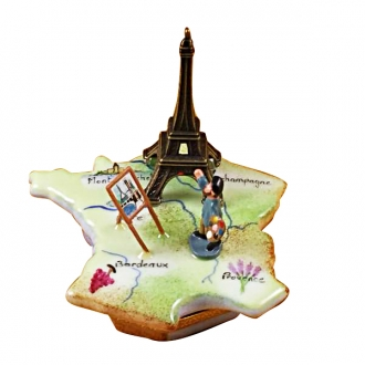 Map of france w/monet & eiffel tower
