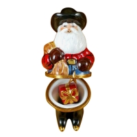 SANTA WITH COWBOY HAT, BOOTS, ROPE & REMOVABLE PRESENT
