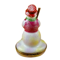Snowman w/red hat & broom