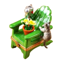 ADIRONDACK CHAIR W/CAT- WATERING CAN AND PLANT