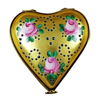 Gold heart w/pink roses