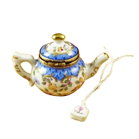 Teapot blue scales w/tea bag