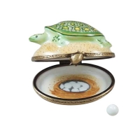 Turtle on sand with removable egg