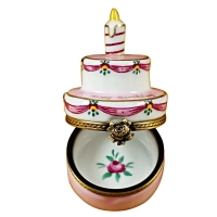 Birthday cake w/pink candle