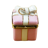 Pink gift wrapped box w/gold ribbon