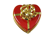 Red heart gold bow w/truffle