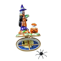 Witch with Pumpkin and Removable Spider