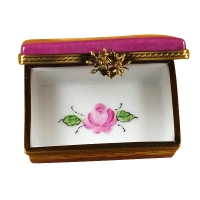 Burgundy rectangle with flowers