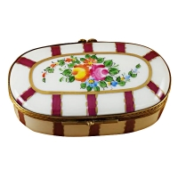 Oval burgundy stripes with flowers
