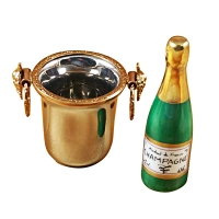 Champagne bottle in silver bucket