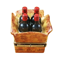 CRATE OF 4 WINE BOTTLES