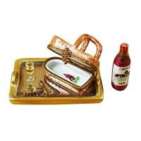 Tray w/wine tasting basket