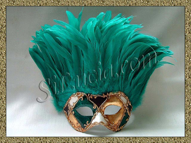 Incas Mardi Gras Green Feathers