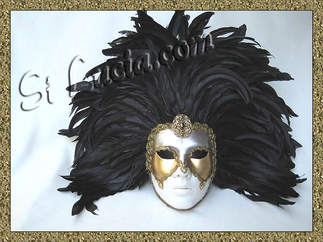 Full White Deco Face Black Feathers