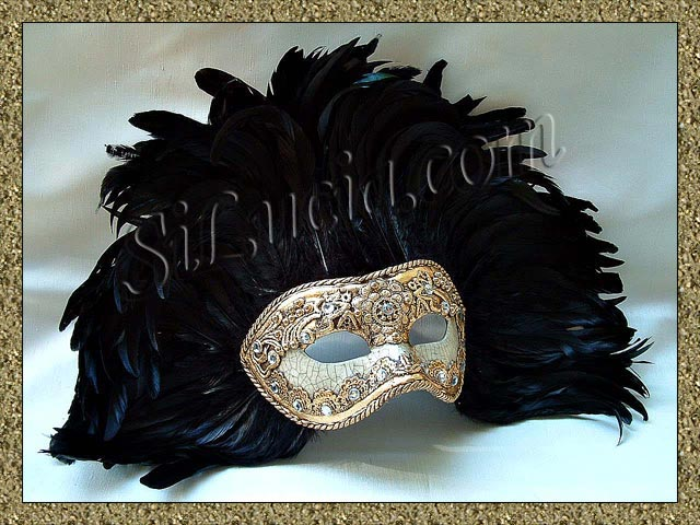 America gold macrame crackle black feathers