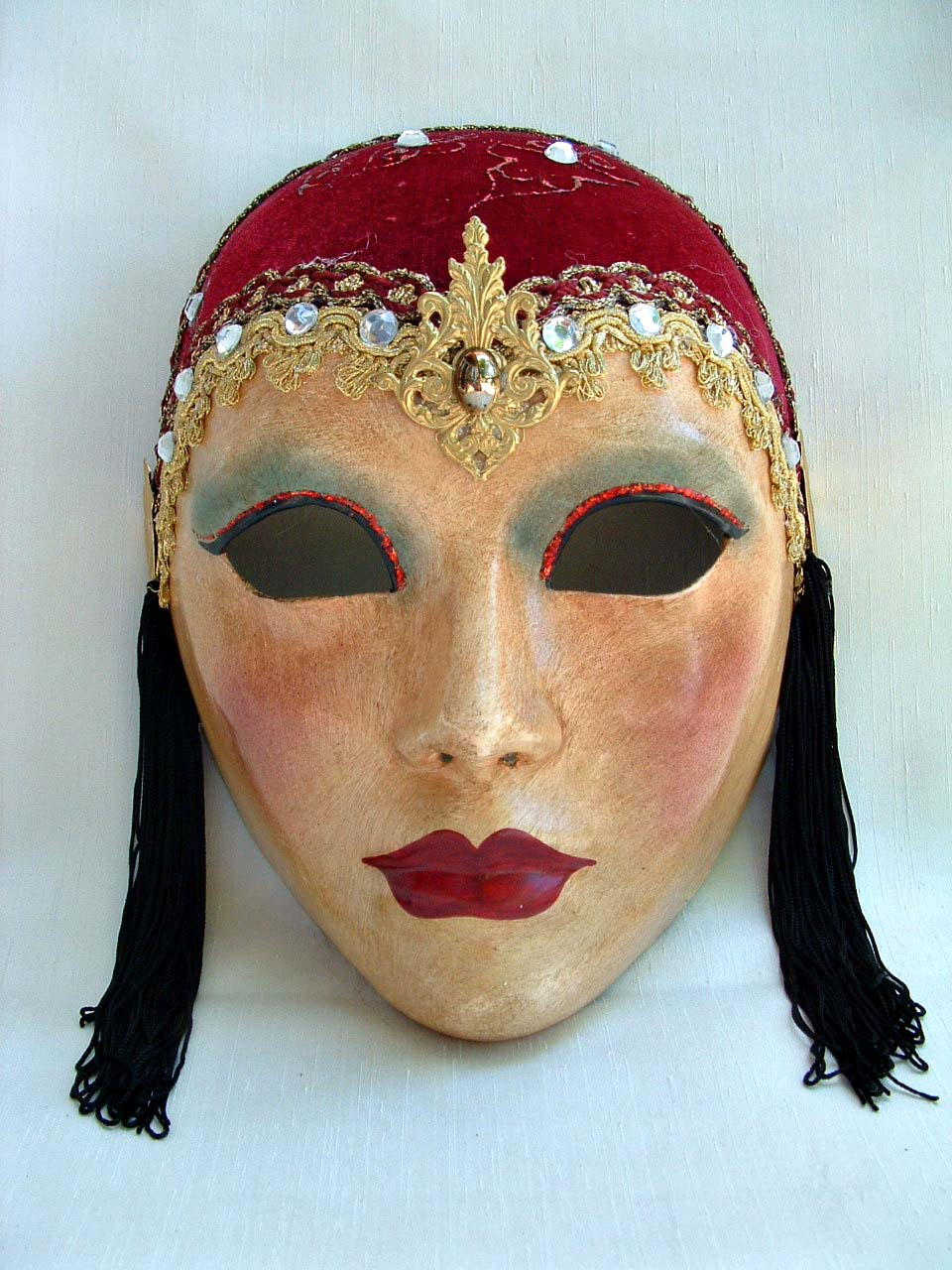 Lady 30's Red Venetian Mask