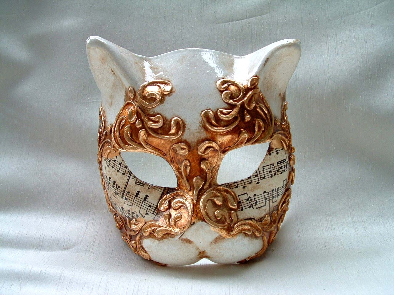 Cat Gold Music Venetian Mask