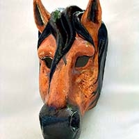 Horse Brown/Black Venetian Mask