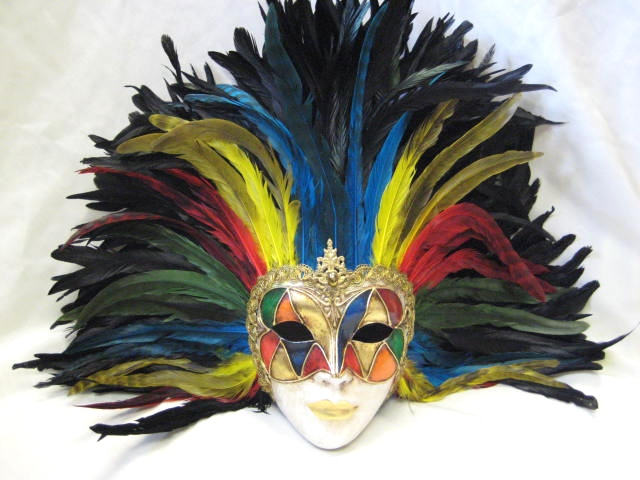 full face arlecchino multi color feathers