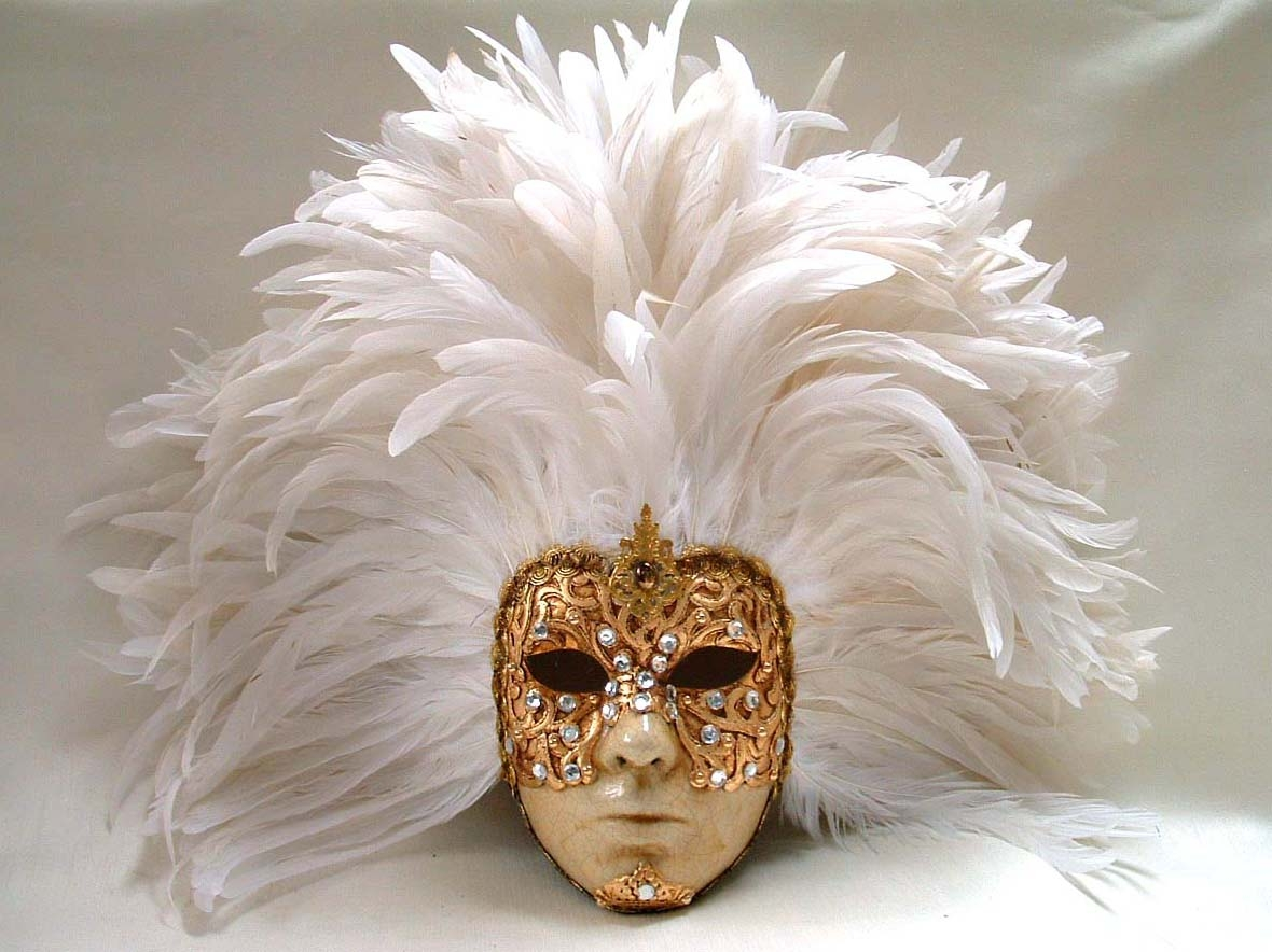Full Gold Macrame Face White Feathers