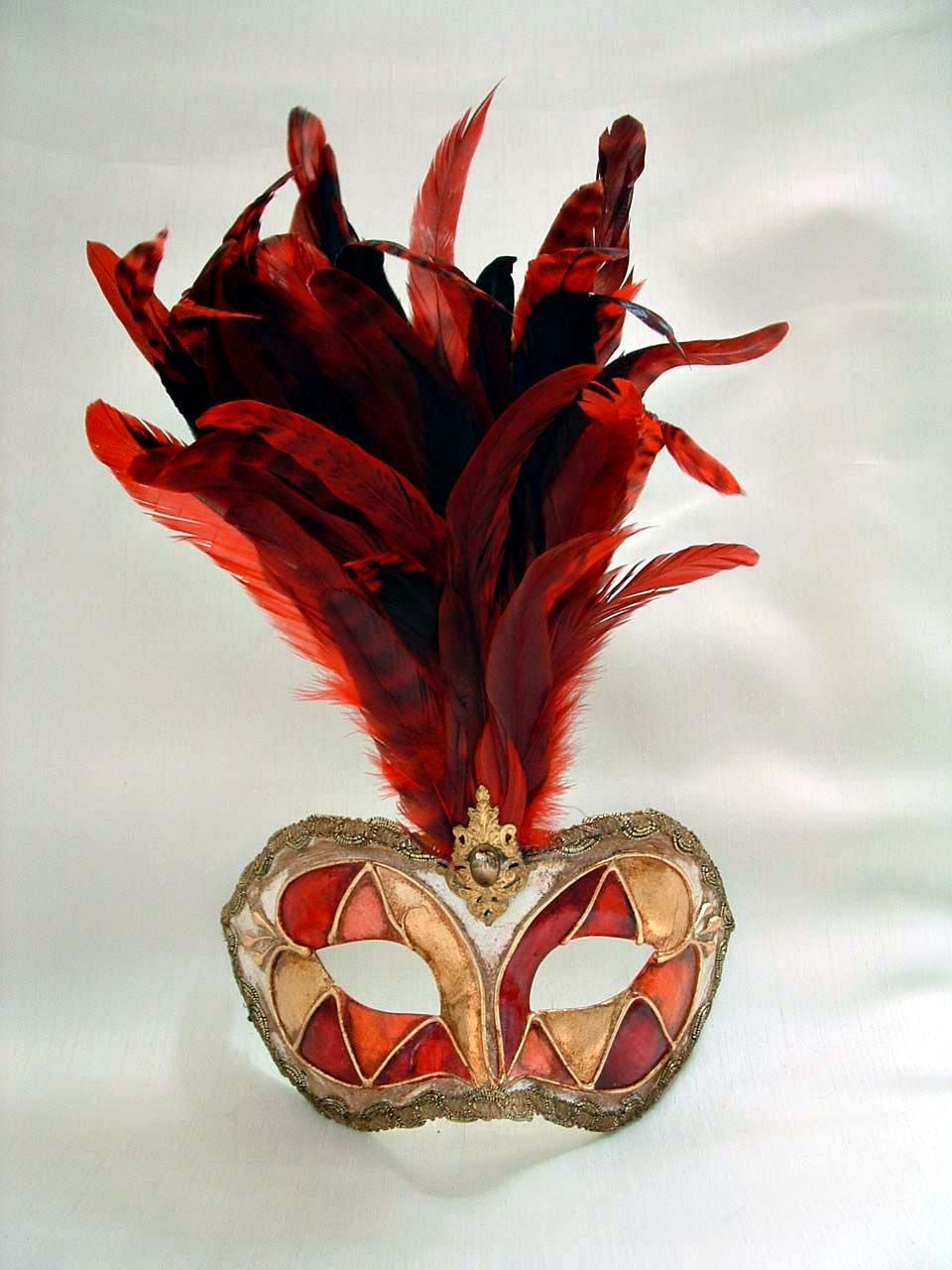 Galletto Arlecchino Red Tiger Feathers Mask