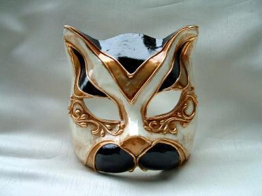 Cat Monica Black Venetian Mask