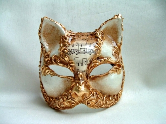 Cat Oliani Music Stucco Gold Venetian Mask