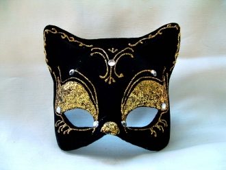 Cat Velvet w/Yellow Glitter Venetian Mask