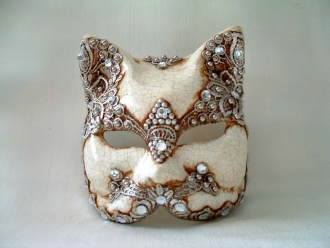 Cat Silver White Venetian Mask