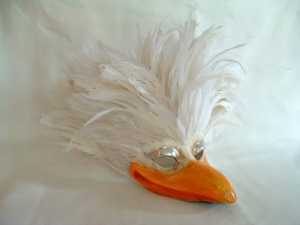 Seagull White Feathers Venetian Mask