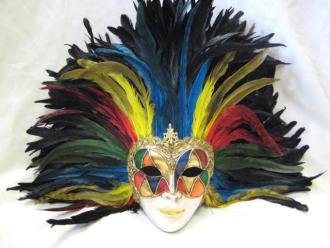 full face arlecchino multi color feathers venetian masks 1001