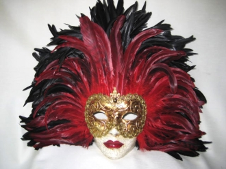 full face black/red tiger feathers