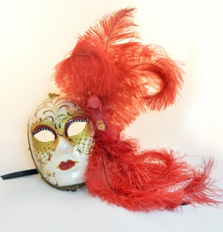 Burlesque Red Feather Mask