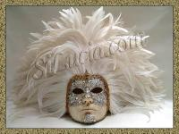 Full Silver Macrame Face White Feathers