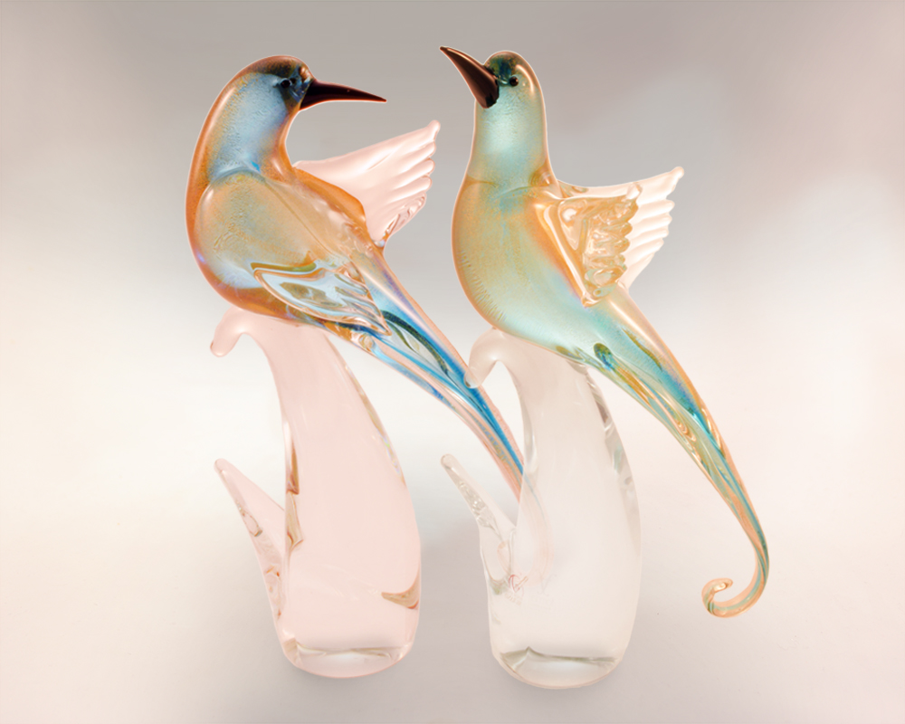 Murano Glass Bird Pair Golden Aqua
