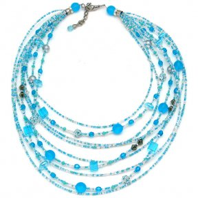 Murano Glass Watefall Necklace Turquoise
